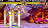 Darkstalkers: The Night Warriors Arcade More weirdness from Anakaris, as he defends against succubus Morrigan coming from above