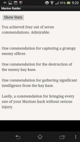 Marine Raider Android End-of-game play summary