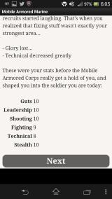 Mobile Armored Marine Android The character's statistics at the end of basic training
