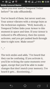 Mobile Armored Marine Android An in-game rationale for restoring a game!