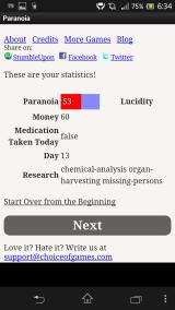 Paranoia Android The player's stats