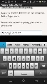 Popcorn, Soda ... Murder? Android Giving the player character a name