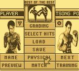 Best of the Best Championship Karate Game Boy The main menu allows you to train, set up moves, and more