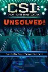 CSI: Crime Scene Investigation - Unsolved! Nintendo DS Title screen.