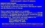 Math Assault I: Word Problems DOS The shareware order form is displayed at the start of the game, before the artwork and all the configuration options.