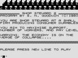 Shop Steward ZX80 Title screen / instructions