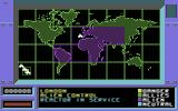 Raid 2000 Commodore 64 Map of the Earth. Rid the Aliens from the purple zones.