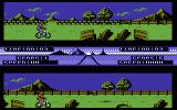Pro Mountain Bike Simulator Commodore 64 Approaching a ramp.