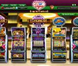 Heart of Vegas Browser Game start - A row of casino slots waiting for coins.