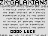 ZX-Galaxians ZX81 Title screen / story