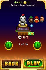 Nimble Quest iPhone Picking the leader hero. Many are locked initially, but will unlock as you find them in specific levels.