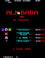 Alibaba and 40 Thieves Arcade Title Screen.