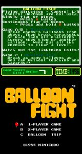 Balloon Fight Arcade Title Screen.