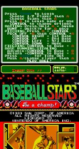 Baseball Stars Arcade Title Screen.