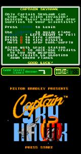 Captain Skyhawk Arcade Title Screen.