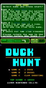 Duck Hunt Arcade Title Screen.