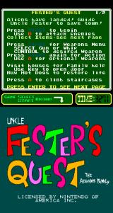 Fester's Quest Arcade Title Screen.