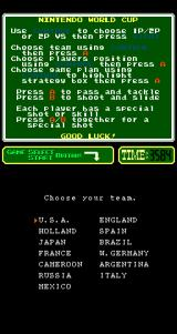 Nintendo World Cup Arcade Team Selection.
