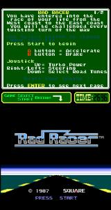 Rad Racer Arcade Title Screen.