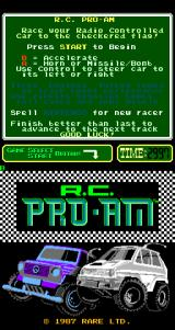 R.C. Pro-Am Arcade Title Screen.