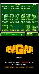 Rygar Arcade Title Screen.