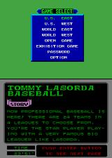 Tommy Lasorda Baseball Arcade Game Select.
