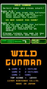 Wild Gunman Arcade Title Screen.