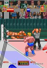 Wrestle War Arcade He's out of the ring.