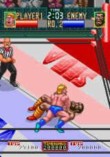 Wrestle War Arcade Pinned to the canvas.