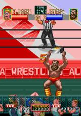 Wrestle War Arcade Fighting out of the ring.