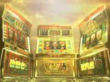 Pachi-Slot Aruze Ōkoku PlayStation The game starts with an animated sequence. There's thunder. Lightning rolls across a purple sky. Then the camera pans lovingly across the three machines which are enveloped in a golden haze