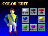 Gallop Racer PlayStation The second step in starting a new game is to create the jockey's colours. The sleeves, armbands, vest and stripe are all customisable