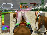 Gallop Racer PlayStation A race in progress. The circle or square use the whip, depending on whether the jockey is right/left handed. L1/R1 rotate the players point of view
