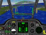 Jane's Combat Simulations: Longbow Gold DOS Apache Pilot Cockpit view next to the Bridge of the Americas in Panama