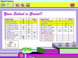Dole 5 A Day Adventures Windows 3.x This is the information The Salad Factory is trying to impart. Memorise this because there's a quiz on exiting this section