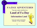 Dole 5 A Day Adventures Windows 3.x getting all the questions right in a challenge means the player is Certified in that area.