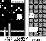 Kirby's Dream Land Game Boy Clearing a path in destructible blocks