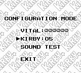 Kirby's Dream Land Game Boy Configuration mode