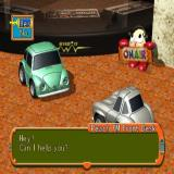 Road Trip PlayStation 2 The receptionist at Peach FM. Dialogue appears at the bottom of the screen. The player presses cross to continue the conversation. Eventually it ends or, as shown here, a question is asked