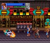 Super Double Dragon SNES A sword using bad guy, getting hit by an explosion.