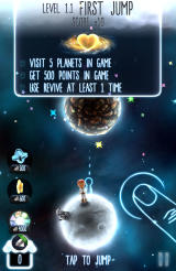 Little Galaxy Android The start of the first level in the journey mode with the three objectives