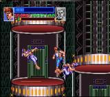 Super Double Dragon SNES Billy's Hurricane kick. Don't worry, you can't fall off the elevator.