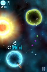 Little Galaxy Android Spin bonus achieved by standing still during a rotation.