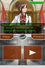 Apollo Justice: Ace Attorney Nintendo DS Another cross-examination. The bracelet icon lights up whenever Apollo has a chance to use his Perceive ability. (Also, Ema's pouting is so adorable.)