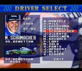 Human Grand Prix IV: F1 Dream Battle SNES Driver select.