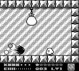 Kirby's Dream Land 2 Game Boy Fighting one of mid-bosses for a power-up and a friend
