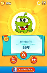 Cut the Rope 2 Android Level completion screen (Dutch version)