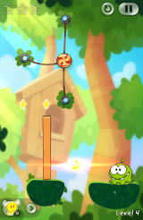Cut the Rope 2 Android This piece of wood needs to be knocked over.
