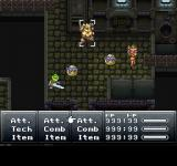 Final Fantasy Chronicles PlayStation Chrono Trigger: Frog, Robo, and Luca attack enemies in futuristic sewers