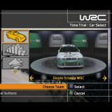 WRC II Extreme PlayStation 2 The Car selection screen. In the demo version there are only two cars available this Skoda and a Peugeot 206.